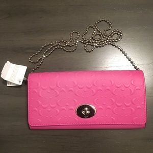 NWT COACH Envelope Wallet on a Chain Logo Embossed